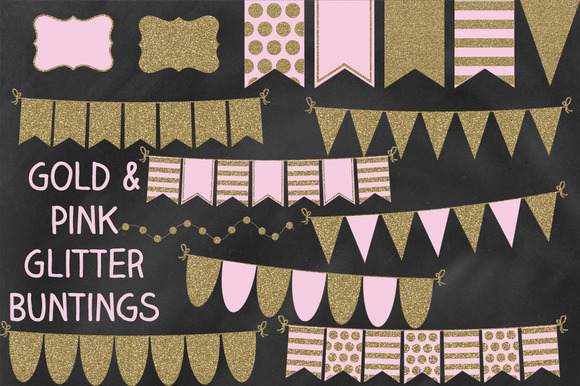 Pink And Gold Glitter Bunting Banner