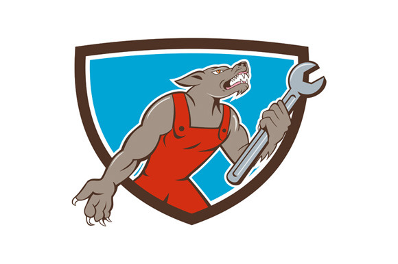 Wolf Mechanic Spanner Shield Cartoon