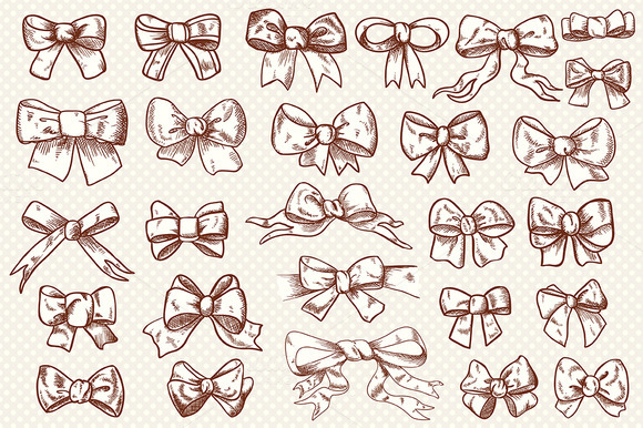 Vintage Bow Clip Art Collection