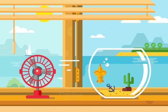 Fan And Aquarium On Windowsill