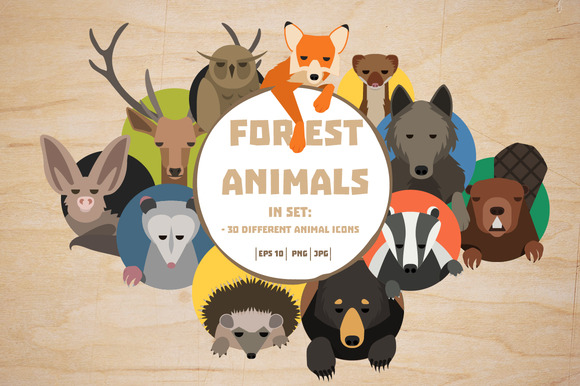 Forest Animals Icons Big Set