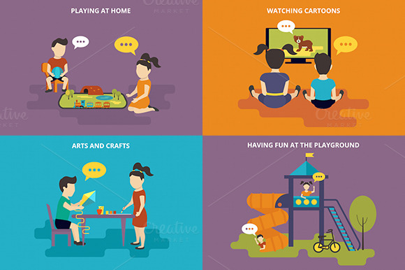 Family Flat Illustrations Set #7