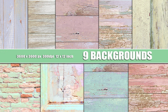 PASTEL WOOD WALL And BRICK TEXTURE