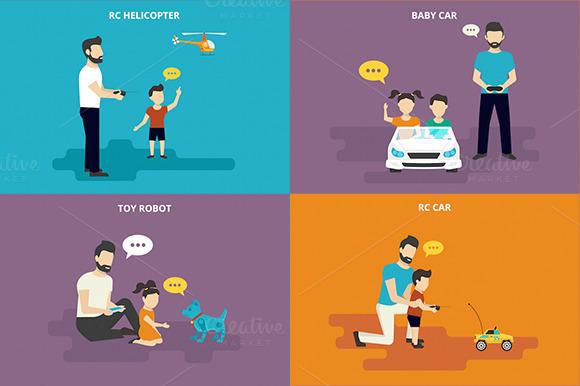 Family Flat Illustrations Set #8