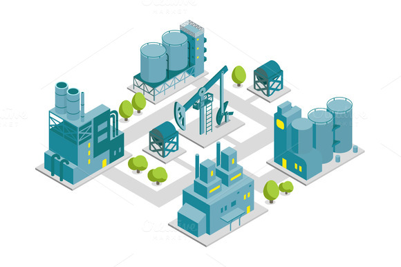 Set Of Isometric End 2D Factory