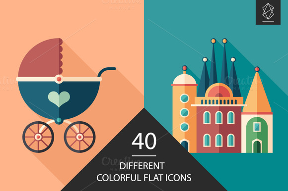 Colorful Flat Square Icon Set