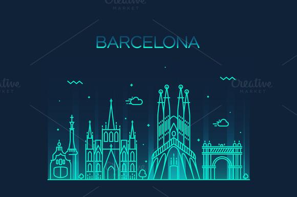 Barcelona City Skyline