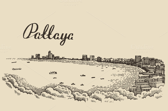 Pattaya Beach Skyline Thailand