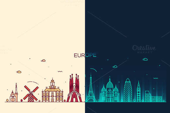 Day And Night European Skylines