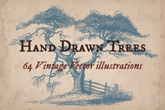 64 Vintage Hand Drawn Trees