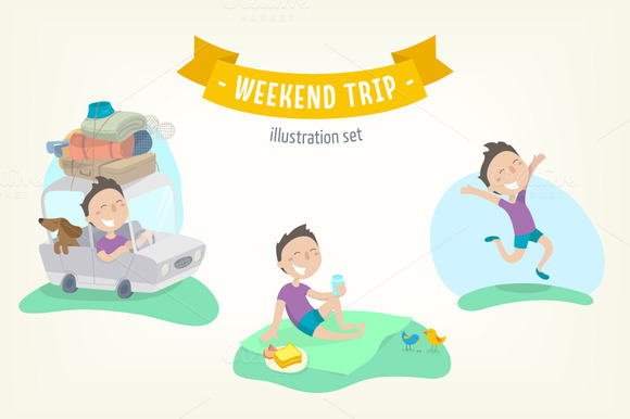 Weekend Trip Flat Illustration Set