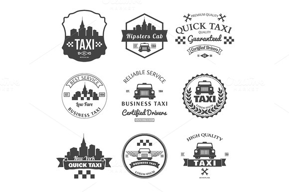 Set Of Taxi Badges Logos And Labels