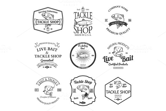 Tackle And Bait Shop Label Design