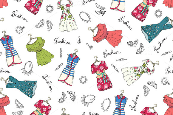 Pattern With Dresses Shoes Jewelry
