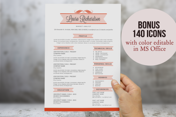 2 In 1 Stylish Banner Word Resume
