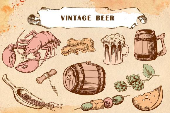 Set Of Vintage Beer And Snack