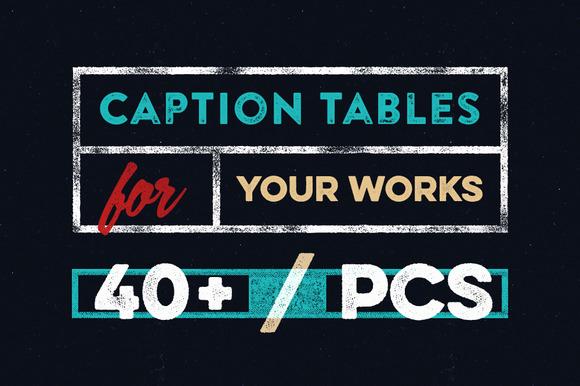 40 Vector Caption Tables Set