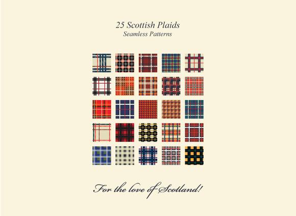 25 Scottish Plaid Seamless Patterns