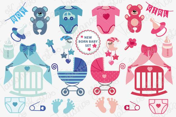 New Born Baby Boy Girl Icons Set