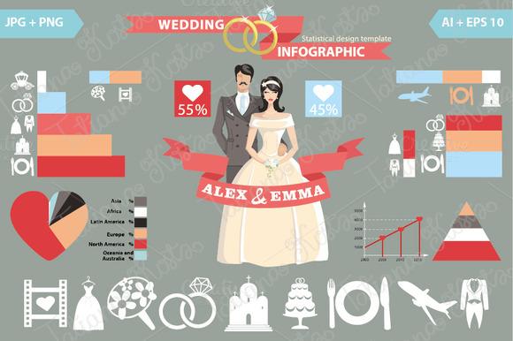 Wedding Infographic Set Bride Groom