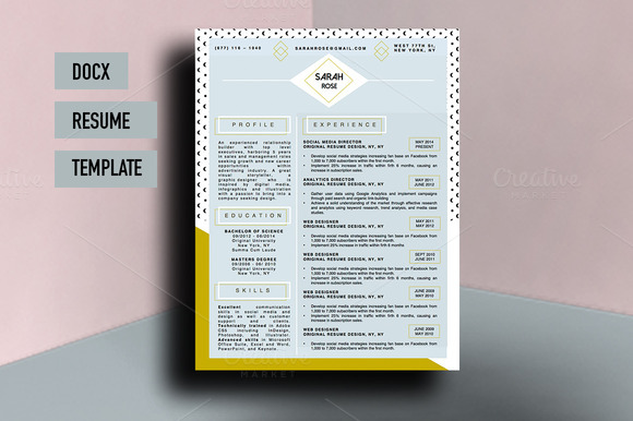 Sarah Rose Beautiful Resume Template