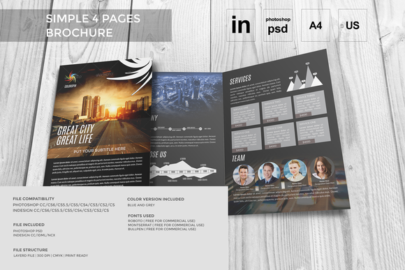 4 Pages A4 Size Brochure In PSD IN