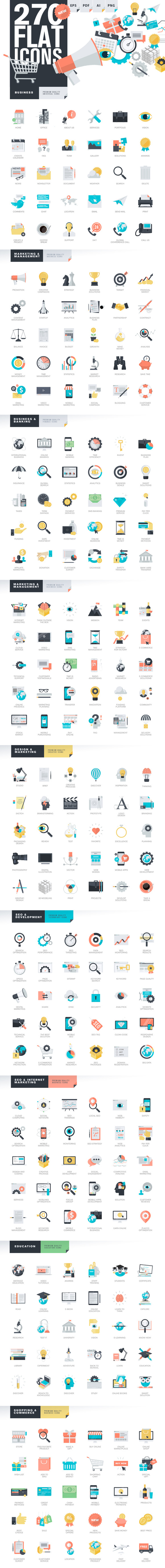 Modern Flat Design Style Icons