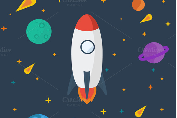 Space Rocket In A Flat Style