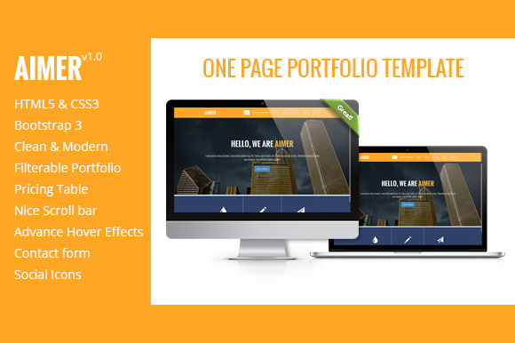 AIMER One Page Portfolio Template