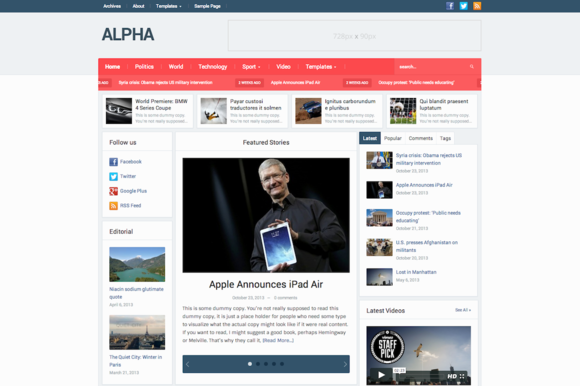 Alpha Magazine Newspaper Theme
