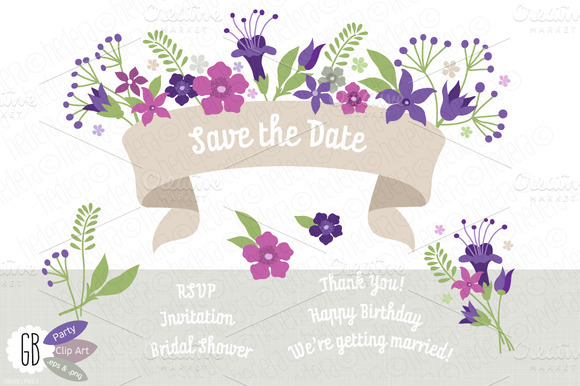 Folk Flowers Purple Invite Ribbon
