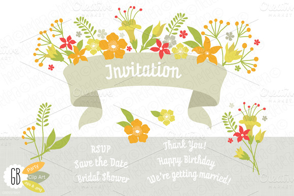 Folk Flowers Invitation Yellow Green