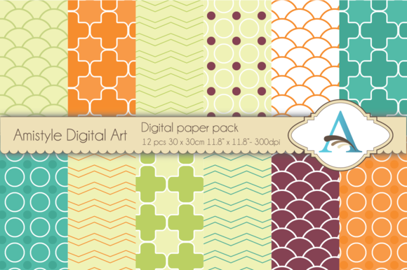 Retro Digital Paper Pack
