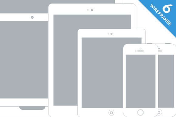 Apple Device Wireframe Mockups