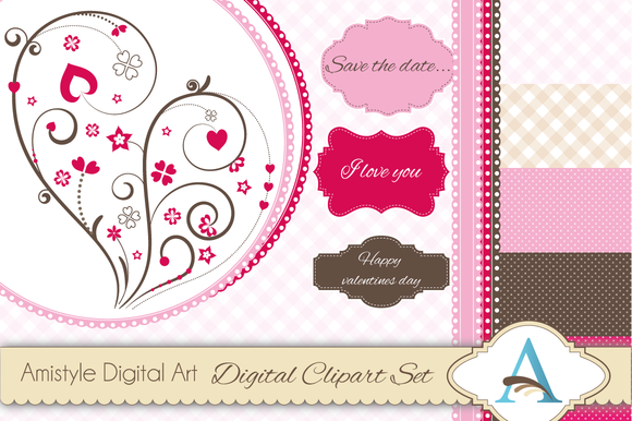 Valentine Clipart And Digital Papers