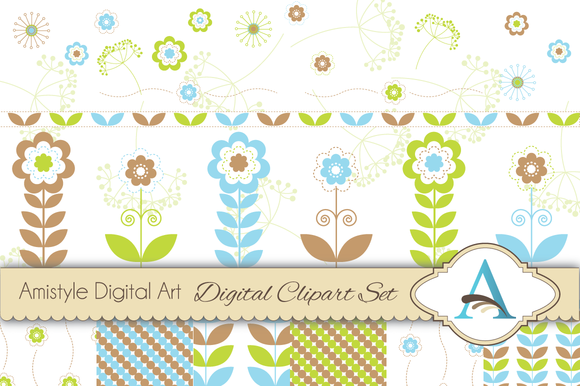 Flower Clipart And Digital Paper Set