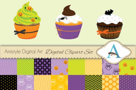 Halloween Cupcake Clipart Set