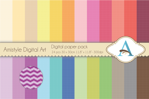 Rainbow Chewron Digital Papers