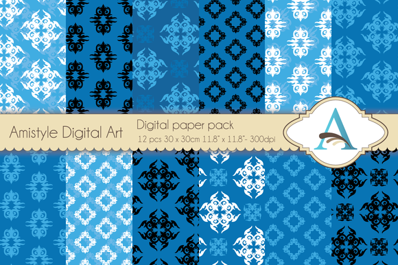Blue Ornament Digital Papers