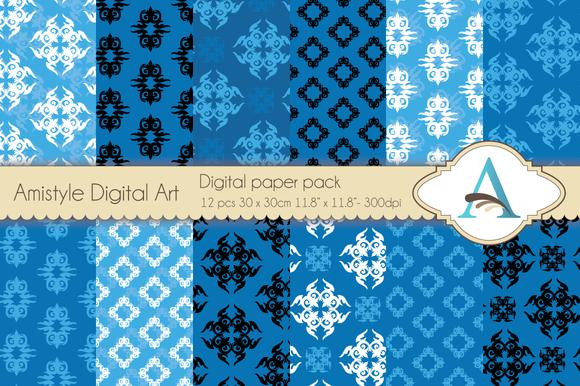 Blue Ornament Digital Papers