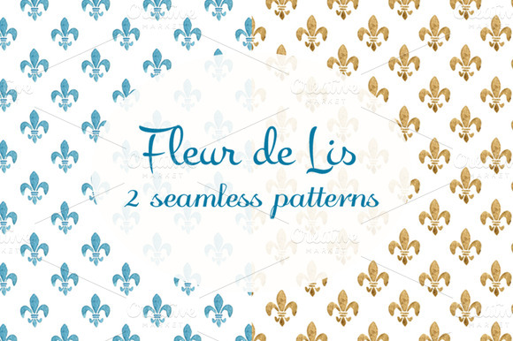 2 Watercolor Fleur De Lis Patterns