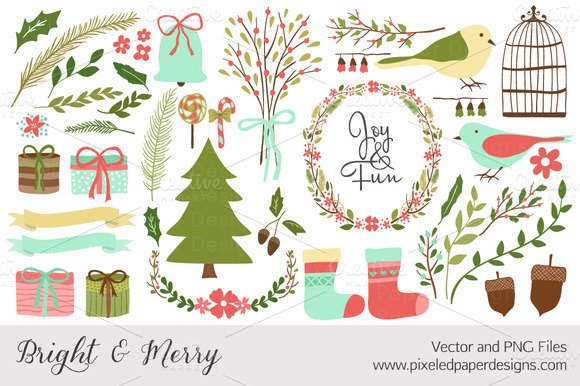 Bright Merry Winter Vector PNG