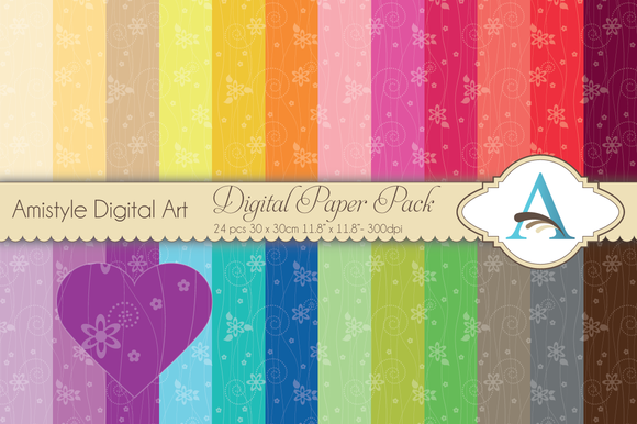 Rainbow Flower Trail Digital Papers