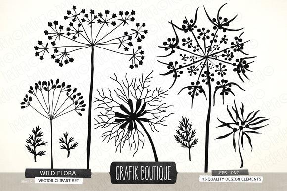 Wild Herbs Flowers Silhouette Vector