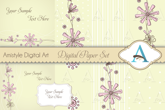 Floral Card Template Set