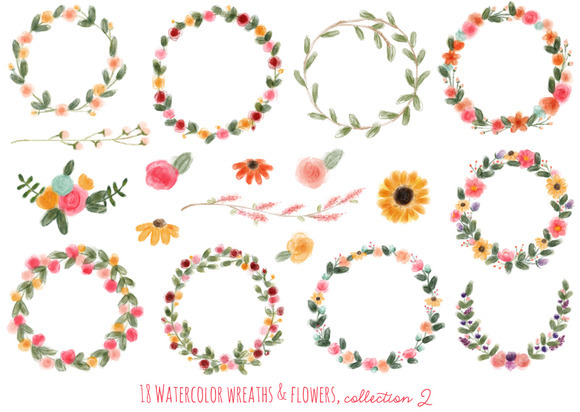 18 Watercolor Wreaths Flowers #2