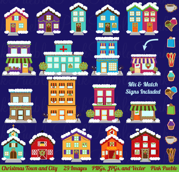 Christmas Village Clipart Vectors