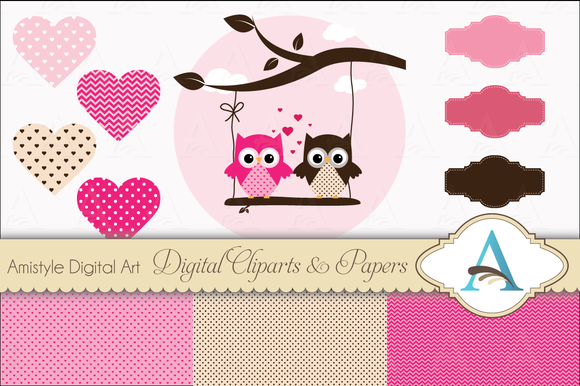 Valentines Owl Clipart Set