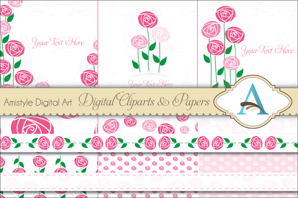 Vintage Roses Card Template Set