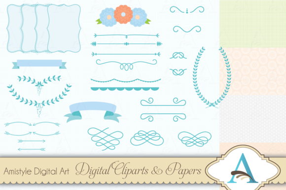 Blue Flower Clipart And Paper Set